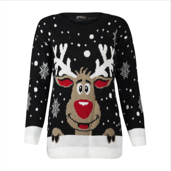 Womens Ugly Christmas Deer Warm Knitted Long Sleeve Sweater Jumper Top Blouse 9