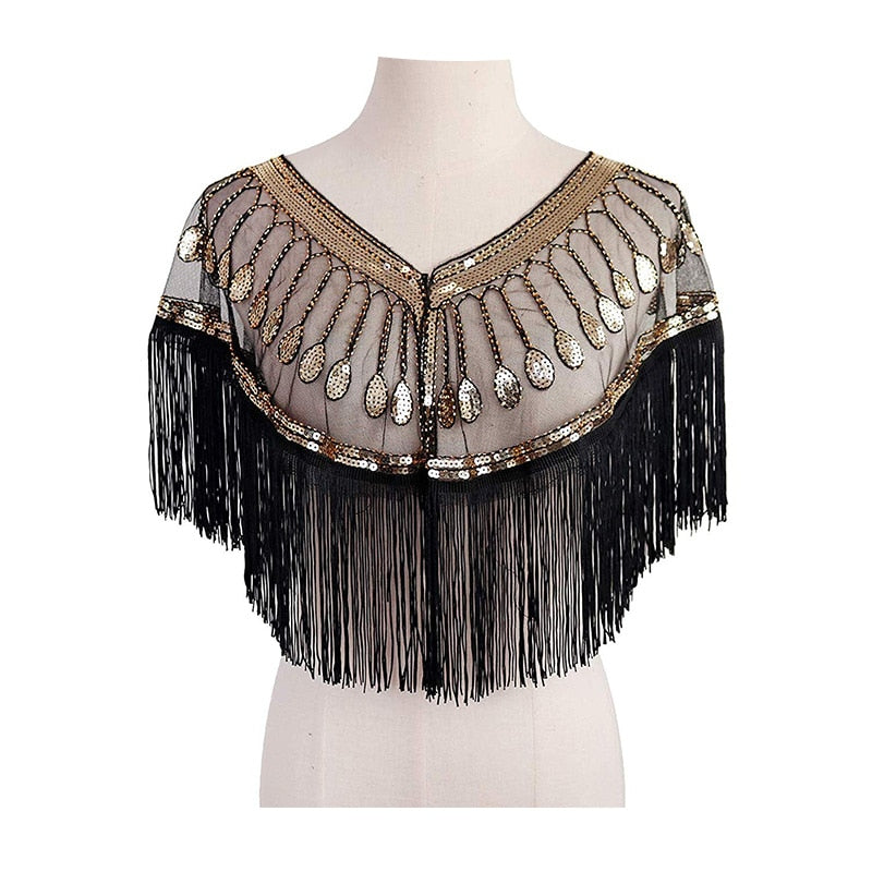 Women Sequin Embroidery Shawl Scarf Tassel Mesh Wrap Cape Evening Dress Lace