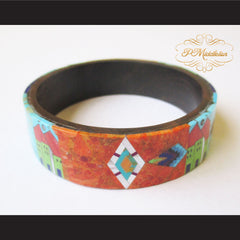 P Middleton Camagong Wood Bangle Elaborate Micro Inlay Design 12 - borizcustom - 2