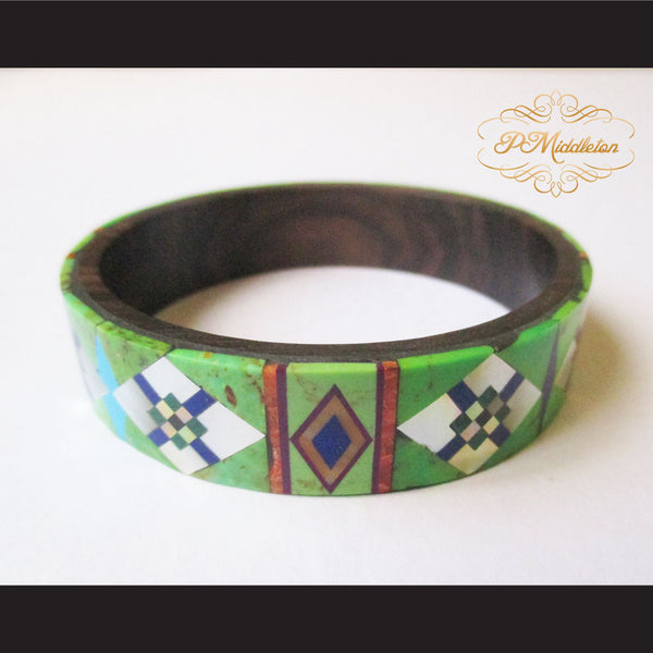 P Middleton Camagong Wood Bangle Elaborate Micro Inlay Design 4 - borizcustom