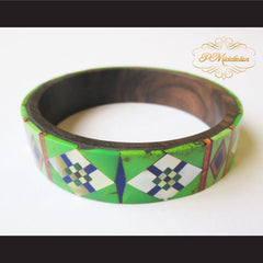 P Middleton Camagong Wood Bangle Elaborate Micro Inlay Design 4 - borizcustom - 2