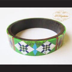 P Middleton Camagong Wood Bangle Elaborate Micro Inlay Design 4 - borizcustom - 4