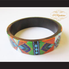 P Middleton Camagong Wood Bangle Elaborate Micro Inlay Design - borizcustom