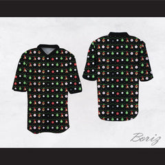 Super Mario Ugly Christmas Sweater Dye Sub Print Black Football Jersey