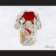 Santa Claus and Reindeer Ugly Christmas Sweater Print Beige Football Jersey