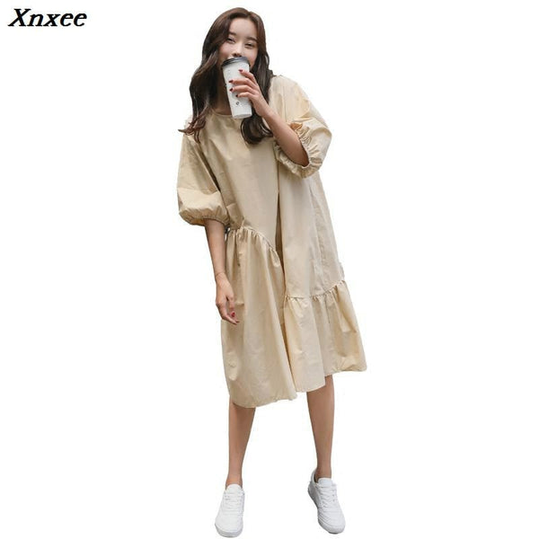 Xnxee Women Shirt Dress Cotton Dress Loose Irregular Black White Long Dress  Plus Size Womens Casual Wear 2018 Boho Vintage New