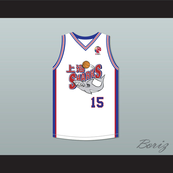 check out 2ed24 2331d Yao Ming 15 Shanghai Sharks White Basketball Jersey with CBA Patch
