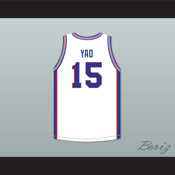 check out bdd96 8f319 Yao Ming 15 Shanghai Sharks White Basketball Jersey with CBA Patch