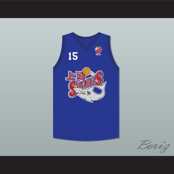 the latest 94c1f 96c3b Yao Ming 15 Shanghai Sharks Blue Basketball Jersey with CBA Patch