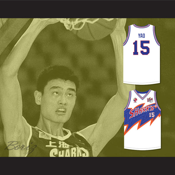 on sale 3ffef d2862 Yao Ming 15 Shanghai Sharks White Basketball Jersey with CBA & Sharks Patch