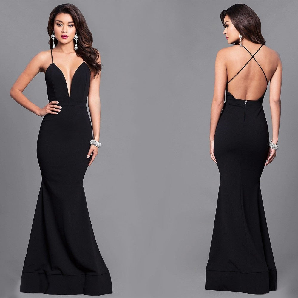 Sexy Deep V Neck Evening Dresses Long Criss-Cross Backless ... - photo#44
