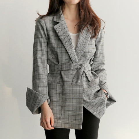 Work Gray Plaid Blazer Jacket Fashion Bow Sashes Split Sleeve Femme Elegant Office Ladies Blazers For Women With Belt Feminino
