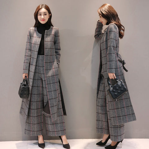 Woolen Plaid 2 Piece Set Women Wide Legged Trousers Suit Set Autumn Women's Windbreaker Spring Trench Coat Casaco Feminino