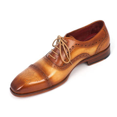 Paul Parkman Men's Captoe Oxfords Tan Color (ID#024-TAN)