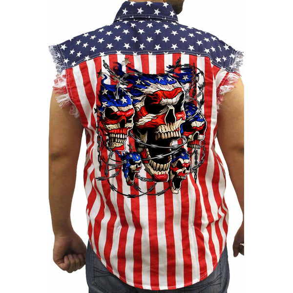 315e90d4850380 ... Men s USA Flag Sleeveless Denim Shirt Patriotic Skulls with Chains Biker