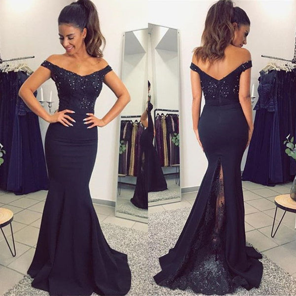 8f5b073352 Navy Blue Mermaid Evening Dress 2019 Boat Neck Off The Shoulder Satin Long  Party Dresses Cheap Wedding Guest Gown Robe De Soiree
