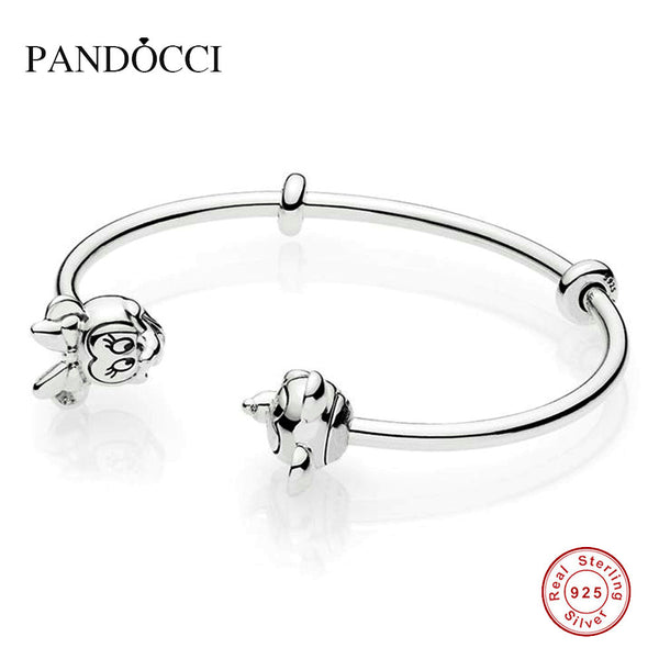 f40653491 925 Sterling Silver Mickey and Minnie Open Bangle For Women Original J