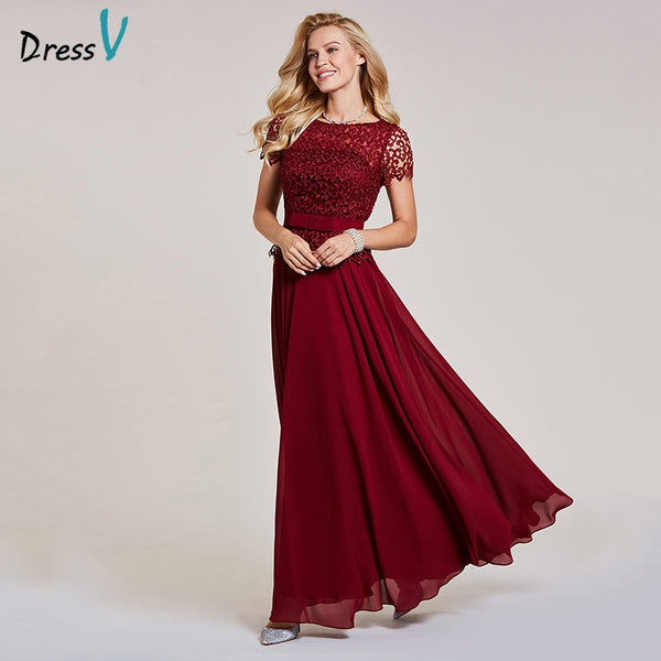 18d6170c4fc35 Dressv burgundy evening dress cheap scoop neck a line short sleeves bowknot  wedding party formal lace evening dresses