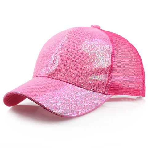 18fb54238e3f9 CHAMSGEND 2018 Fashion Baseball Caps Women Girl Ponytail Baseball Cap  Sequins Shiny Messy Bun Snapback Hat