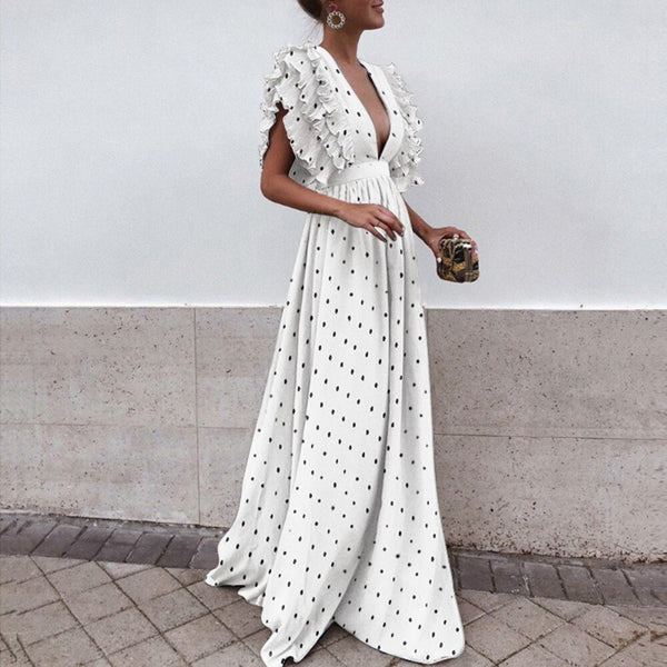 43107f9a7c010 Zmvkgsoa Polka Dots Shirt Women Long Summer Bohemian Dresses Beach  Butterfly Sleeve Ruffles Plus Size Boho Maxi Dress Y10187