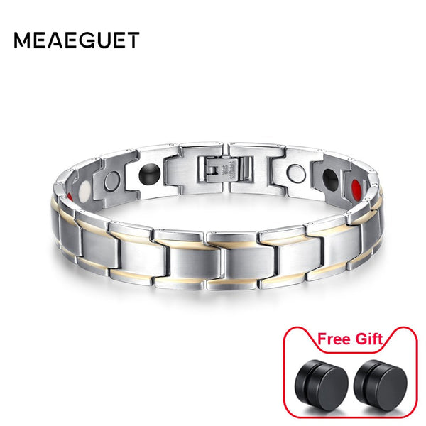 calidad primero mejor venta estilo exquisito 12mm Magnetic Health Bracelets for Men Stainless Steel Fashion Germanium  Magnetic Therapy Jewelry Pulsera bijoux Dropshipping