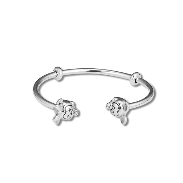 e5419f787 ... 925 Sterling Silver Mickey and Minnie Open Bangle For Women Original  Jewelry Fits For Beads ...