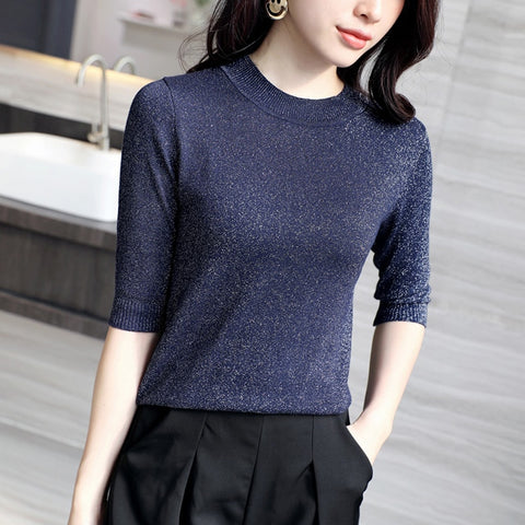 women fashion Spring summer thin o-neck half sleeve slim ice silk t-shirt female girls office lady knitted shirt pullover tops