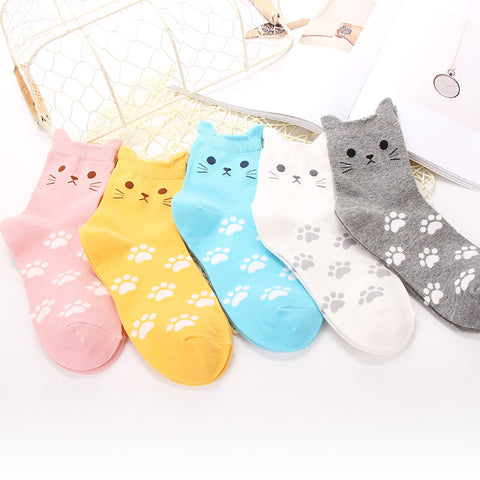 % 1Pair Fashion Cartoon Unisex Men Women Socks Cat Footprints 3D Animals Style Warm Cotton Socks Lady Floor meias Socks Female