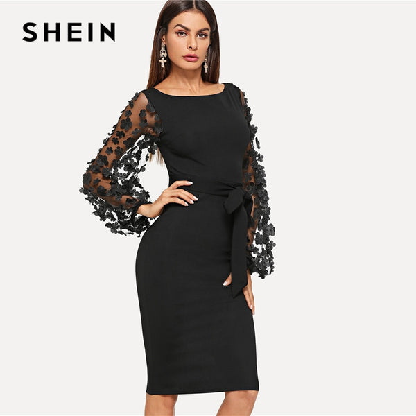 809bb27b32 ... SHEIN Black Party Elegant Flower Applique Contrast Mesh Sleeve Form  Fitting Belted Solid Dress Autumn Women ...
