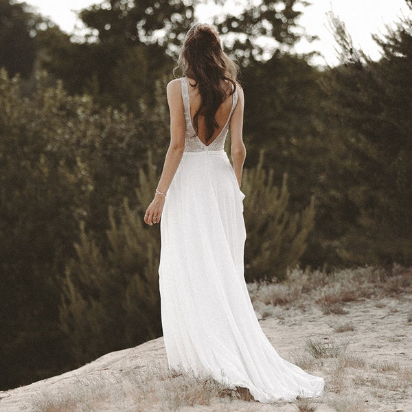 a230bc3121 ... LORIE Beach Wedding Dresses V Neck Lace Top Chiffon Skirt A-Line White  Open Back ...