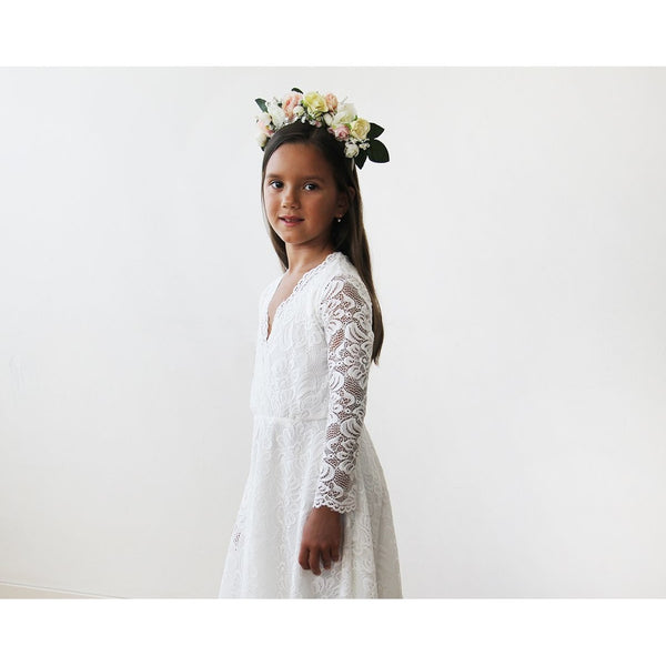 Ivory lace long sleeves Flower Girls Short Dress 5045