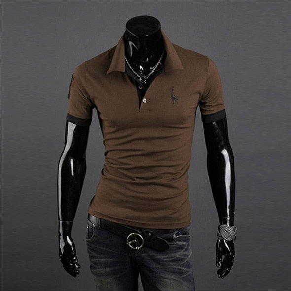 661282fdcc7f ... fashion button polo shirt men solid slim fit short sleeve polo shirts v  neck turn down ...