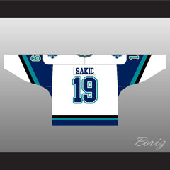 Joe Sakic Rare Hockey Jersey Quebec Nordiques 19 New Blue or White Body Color - borizcustom