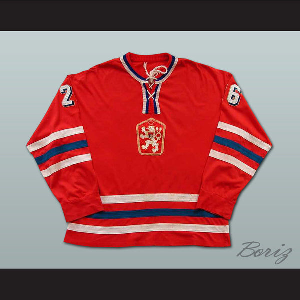 Peter Stastny 26 Czechoslovakia Hockey Jersey Stitch Sewn NEW Any Size or Player - borizcustom