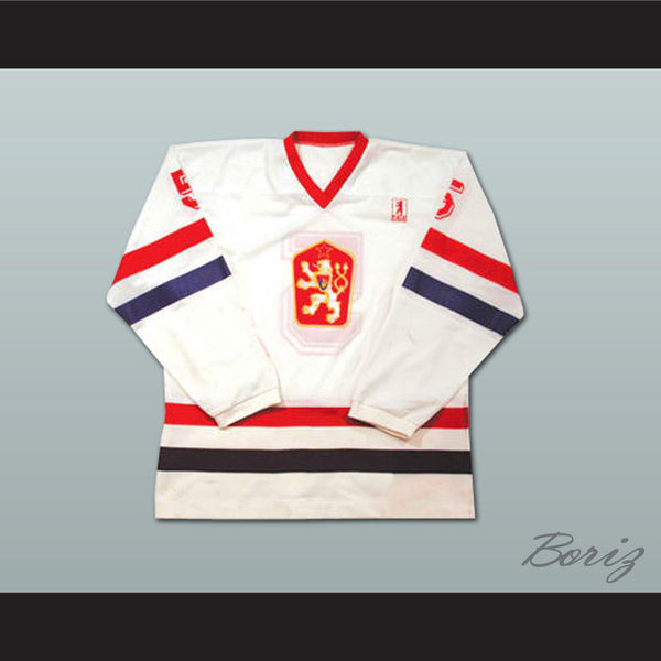 Team Czechoslovakia Suchanek 5 Hockey Jersey Stitch Sewn NEW Any Size or Player - borizcustom