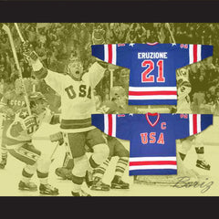 Mike Eruzione 21 Miracle On Ice Blue Hockey Jersey Stitch Sewn New - borizcustom