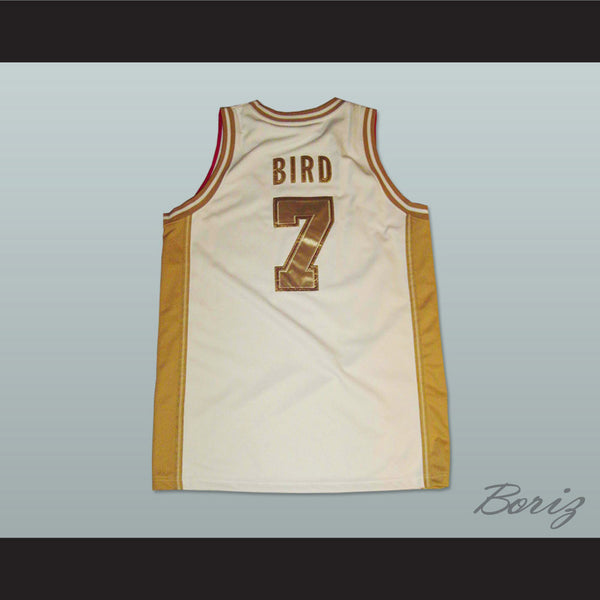 new product 8ce6b 35c20 Larry Bird Dream Team White and Gold Basketball Jersey NEW Stitch Sewn