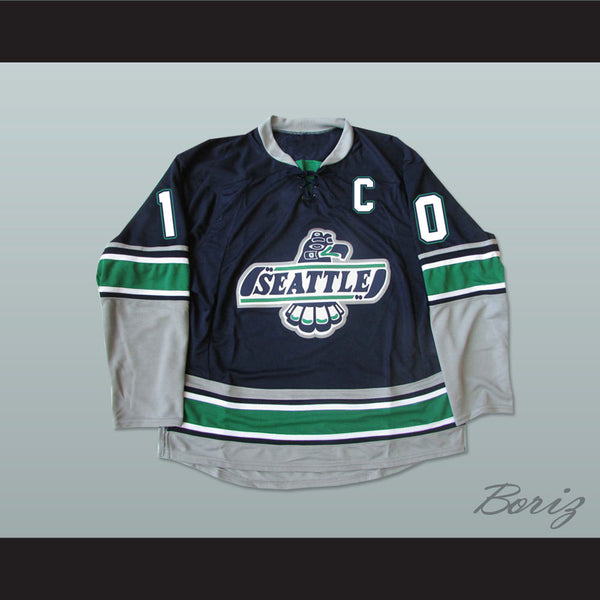 WHL Legend Glen Goodall 10 Seattle T-Birds Hockey Jersey Stitch Sewn New - borizcustom