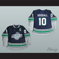 WHL Legend Glen Goodall 10 Seattle T-Birds Hockey Jersey Stitch Sewn New - borizcustom - 3