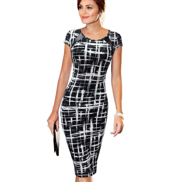 0210e97402be4 Free Shipping Women Dress Elegant Business Casual Wear To Work Party  Stretch Sleeveless Bodycon Be0100-1