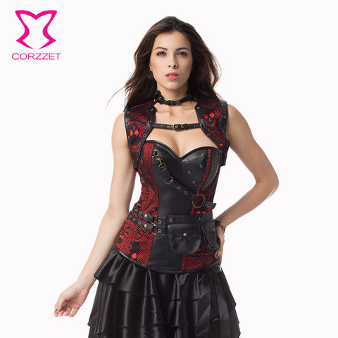4dceb87cac Corzzet Red Black Skull Pattern Leather Armor Corset And Jacket Waist  Trainer Steel Boned Plus