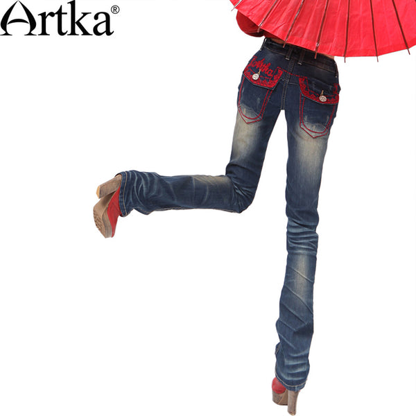 Artka Women's Retro Ethnic Embroidery Whitewashed Effect Abraded Bell-bottoms Jeans K810058Q