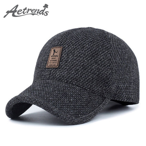 [AETRENDS] Woolen Knitted Design Winter Baseball Cap Men Thicken Warm Hats with Earflaps Z-5000