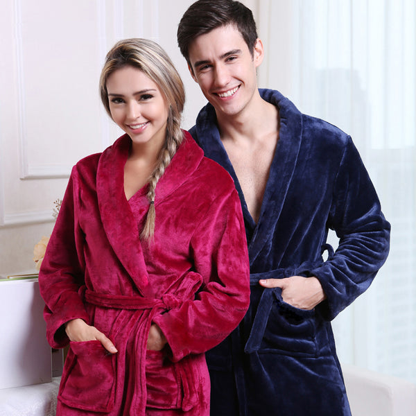 On Sale Men Women Luxury Winter Bathrobe Mens Warm Silk Flannel Long K