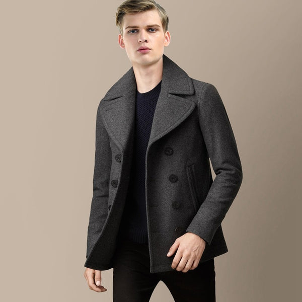 Naval Style Men Short Coat Long Sleeve Solid Color Double Breasted Half Waist Belt Casual Overcoat Wool Blend Outwear MSTS26