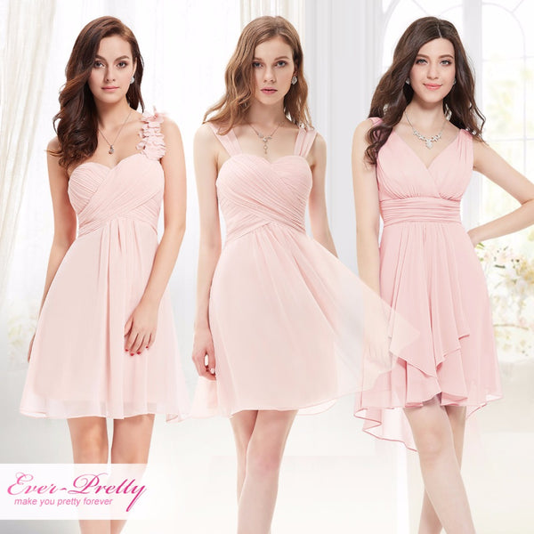34c116448b Pink Mini Bridesmaid Dresses Three Kinds One Shoulder Ever-Pretty EP03535PK  Wedding Guest Dress for Bridesmaid Dress 2018