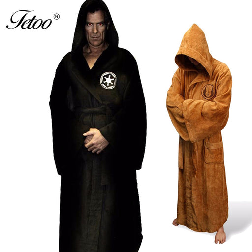 Fetoo Flannel Robe Male With Hooded Thick Star Wars Dressing Gown Jedi