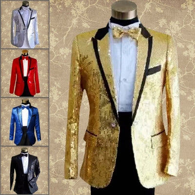 paillette male master Sequins Dresses Stage Costumes Men terno Suit MC Host Clothing Singer Suits & Blazer show jacket outerwear