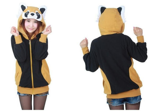 Kawaii Women Men Animal Raccoon Hoodie with Ears Cute Cosplay Red Panda Zipper Hoody Jacket Winter Fleece Couple Sweatshirt