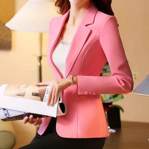 fbf78435149fc Plus Size 4XL Spring Jacket Female Coats Blazer Feminino Long Sleeve One  Button Women Small Suit
